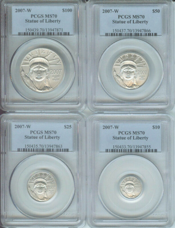 2007-W BURNISHED PLATINUM 4-COINS SET ( $100 $50 $25 $10 ) PCGS MS70 MS-70 !!