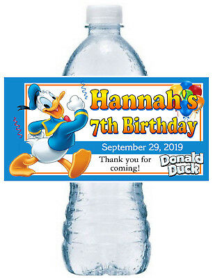 Donald Duck Birthday Party (20 ~ DONALD DUCK BIRTHDAY PARTY FAVORS WATER BOTTLE LABELS)