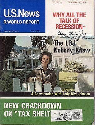 Lady Bird Johnson Signed Autographed First Lady US News Magazine 1973 COA BSC