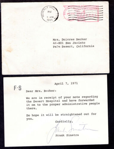 Frank Sinatra Signed Personal Letter From 1971- with Cover and Return Address!