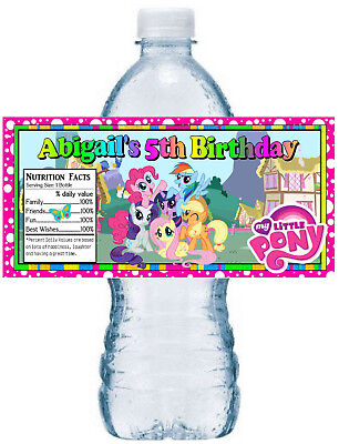 20 MY LITTLE PONY BIRTHDAY PARTY FAVORS ~ WATER BOTTLE LABELS  waterproof ink - Pony Birthday Party