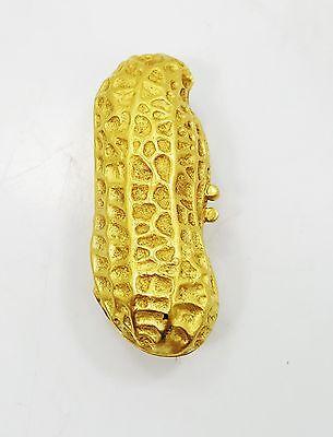 Very Nice 18K yellow Gold Detailed Quality Peanut Pill Box HEAVY B3140