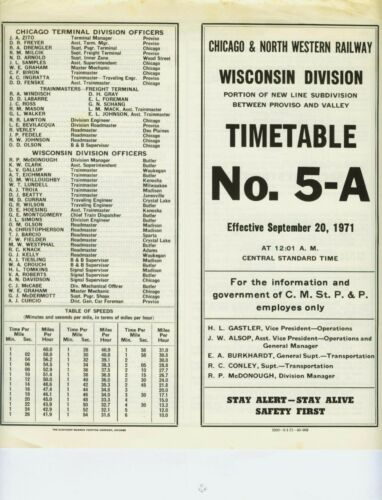 CHICAGO & NORTH WESTERN RAILWAY ETT TIMETABLE NEW LINE SUBDIVISION #5A 9-20-1971