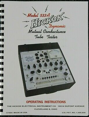 Usa Ultimate Hickok 533a Tube Tester Manual With Supper Clear Schematic