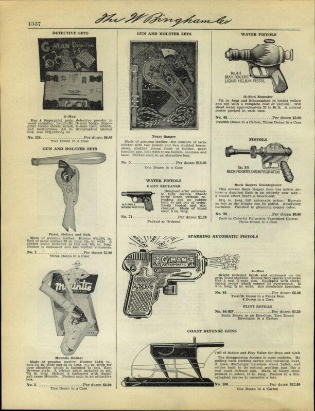 1938 PAPER AD Toy Buck Rogers Liquid Helium Pistol Disintegrator G-Man Automatic