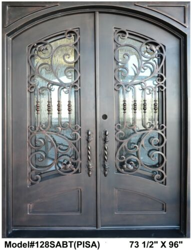 PISA Wrought Iron Double Door Eyebrow top( straight top frame) In Dark Bronze