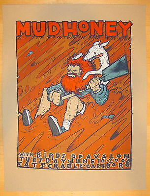 2008 Mudhoney - Carrboro Silkscreen Concert Poster S/N by Jay Ryan