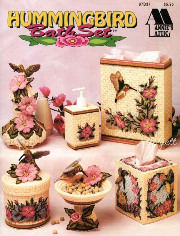 Hummingbird Bath Set, Sculptured Birds Flowers plastic canvas pattern book NEW