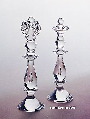 NEW in BOX STEUBEN glass CHESS KING QUEEN ornaments heart couple royal wedding