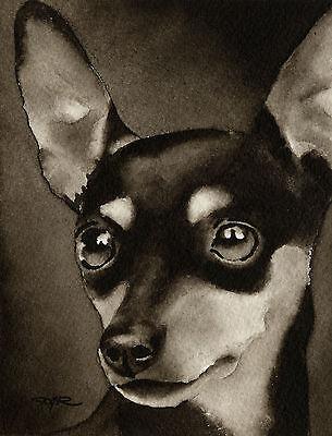 Miniature Pinscher Art Print Sepia Watercolor Min Pin Painting by Artist DJR Miniature Pinscher Art