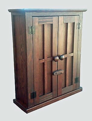 Handmade Custom Rustic British Colonial Pine  Red Oak Stain Wood  Wall Cabinet  for sale  Shipping to Canada