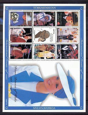 TURKMENISTAN 1997 Lady Diana Gandhi Pope John Paul Large Mini Sheet MNH DAB 682