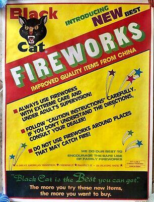 Vintage Black Cat Fireworks Advertising Poster Caution Instructions
