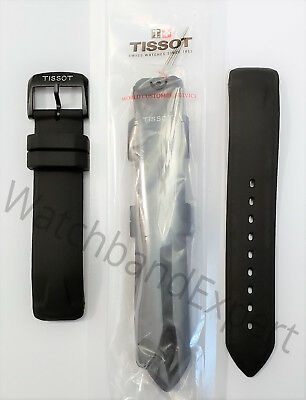 Original Tissot T-Race Touch T081420A Black Rubber Watch Band Strap with Pins