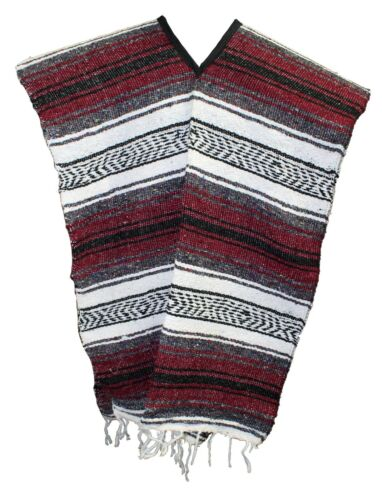 Traditional Mexican Poncho - BURGUNDY ONE SIZE FITS ALL Blanket Serape Gaban
