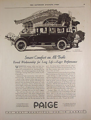 "Original Print Ad 1923, Paige Touring Sedan Car, Automobile 11""x14"" VG+"