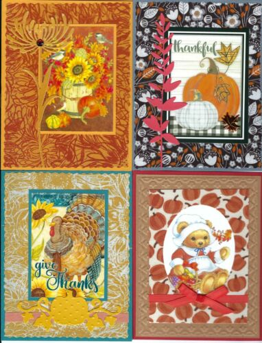 Handmade THANKSGIVING CARDS #3--Lot of 4