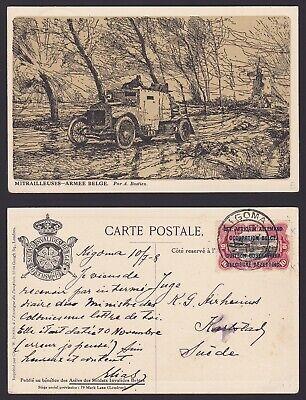 Congo Ruanda Urundi 1918 War stamp used on Postcard KIGOMA to Sweden.......A5721