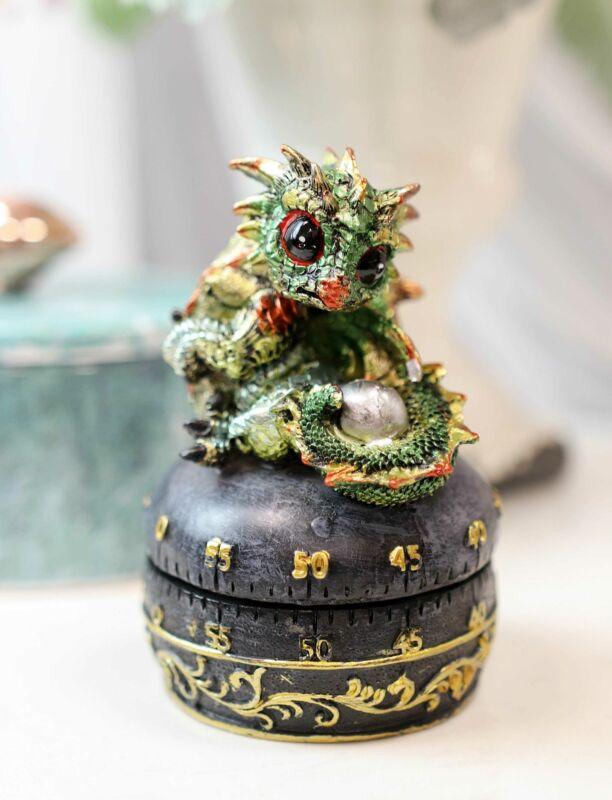 Green Baby Wyrmling Dragon Holding Egg Decorative Kitchen Timer Figurine 60 Min