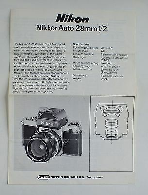 Nikon Nikkor Auto 28mm f/2 Instructions/Specifications Sheet