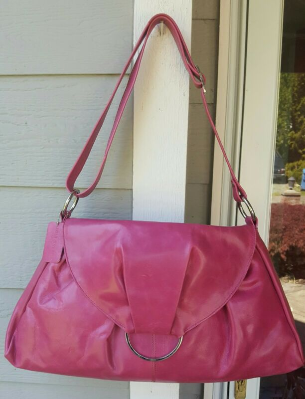 IRIS TYLER DARK PINK LEATHER HOBO NWOT