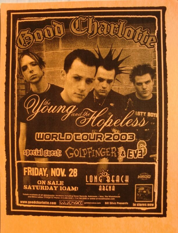 """GOOD CHARLOTTE / GOLDFINGER """"YOUNG & THE HOPELESS TOUR 2003"""" L.A. CONCERT POSTER"""