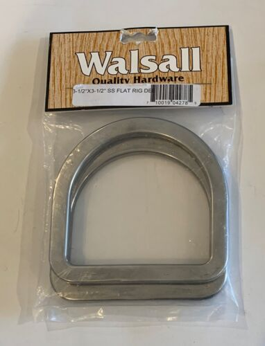 """Walsall Quality Hardware 3-1/2""""x3-1/2"""" Flat Rig Dee Round Edge Stainless 2-Pack"""