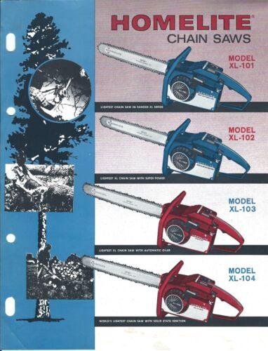 Equipment Brochure Ad Homelite - XL-101 102 103 104 - Chain Saw - c1960
