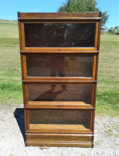 Antique Globe Wernicke Tiger Oak 4 Stack Barrister Bookcase 1915s Era