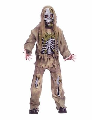 Skeleton 3-D Rotting Zombie Boy's Halloween Costume 8-10 Medium #R75