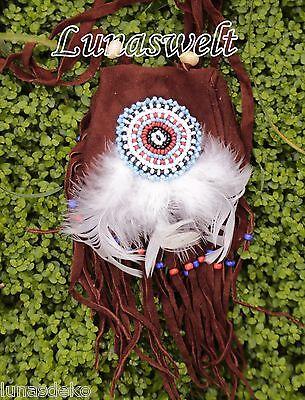Indianer-Umhängetasche -kleine feine Wildledertasche verziert mit Perlenmandala+