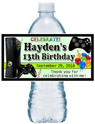 20 VIDEO GAMES BIRTHDAY PARTY FAVORS Water Bottle Labels xbox - Xbox Party Supplies
