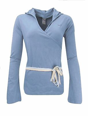 Nike Women`s Yoga Cover Up Wrap Top Hooded Size UK 16-18 / XL Blue - RRP £48