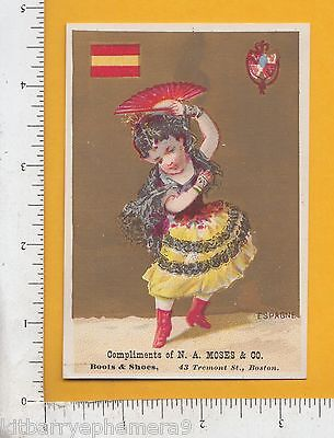 Boston Costume Stores (7966 Trade card Spain national seal costume flag N. A. Moses store Boston,)