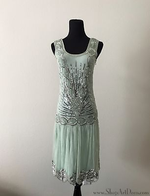 Mint Green 1920s Flapper Dress | Beaded Sequin Gatsby Gown | NWT