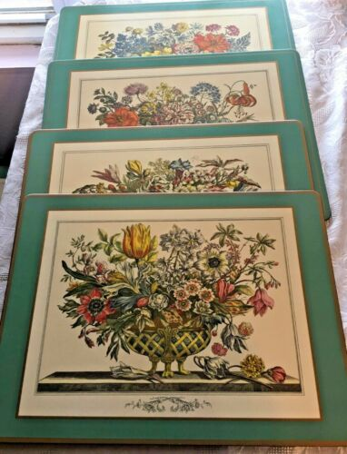 Beautiful Pimpernel Placemats LOT of 4 Botanical Still Life Jacobean England