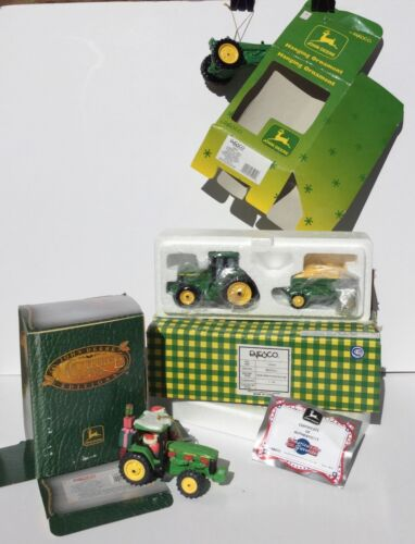 John Deere Christmas Ornaments, Toy Tractor, and His and Hers Mary's Moo Moos