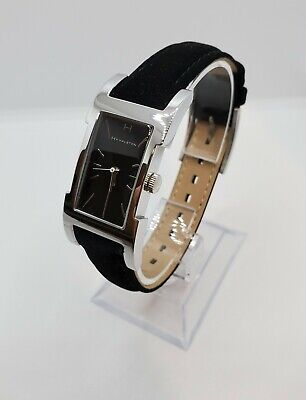 H By Halston Rectangular Case Black Sunray Dial Black Strap Womens Watch
