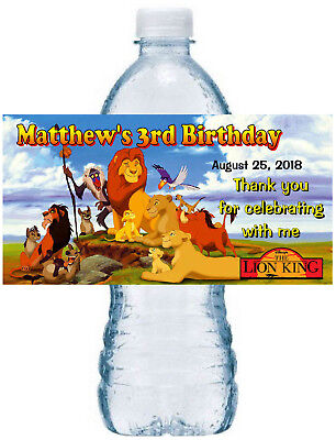 20 LION KING BIRTHDAY PARTY FAVORS WATER BOTTLE LABELS ~ waterproof -