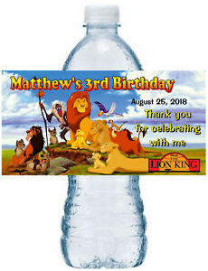 20 LION KING BIRTHDAY PARTY FAVORS WATER BOTTLE LABELS ~ waterproof ink