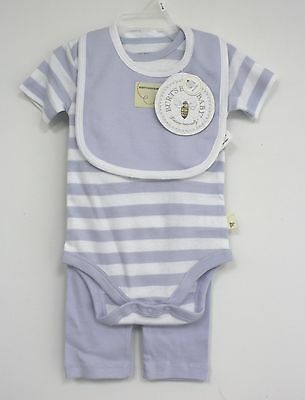 Burts Bees Baby 3 Piece Outfit Blue White Striped Short sleeve shirt Pants BIb