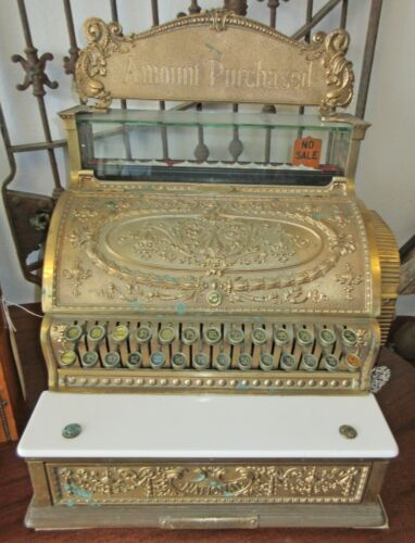 Antique NCR Brass Cash Register Model 349 Dolphin Marquee 1913