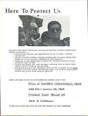 TOMHAYDEN Chicago Convention REDSQUAD/1969 HANDBILL