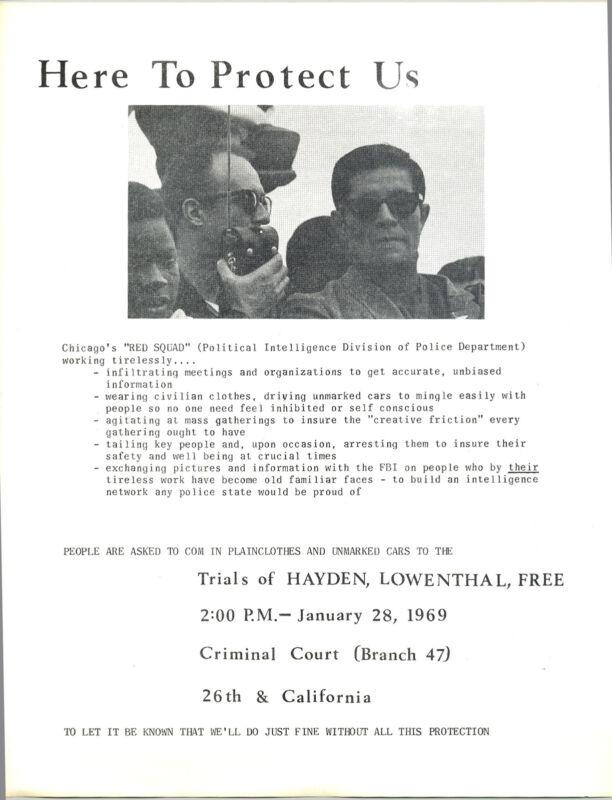 RED SQUAD / SDS / TOM HAYDEN 1968 Chicago Convention /1969 HANDBILL