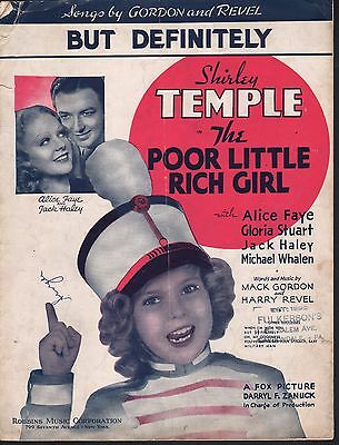 But Definitely 1936 Poor Little Rich Girl Shirley Temple Sheet Music