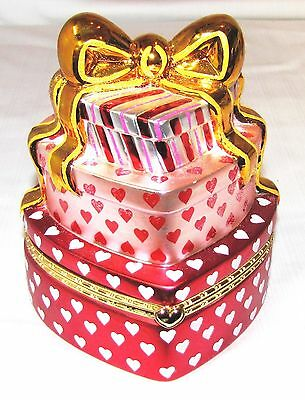 CHRISTOPHER RADCO--HEART SHAPED KEEPSAKE TRINKET BOX--3 HEARTS TALL