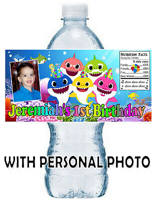 20 BABY SHARK BIRTHDAY PARTY FAVORS WATER BOTTLE LABELS ~ With PERSONAL PHOTO Birthday Party Favors Photo
