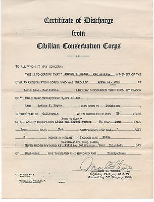 1936 Discharge Certificate California Ccc Civilian Conservation Corp Willits Ca