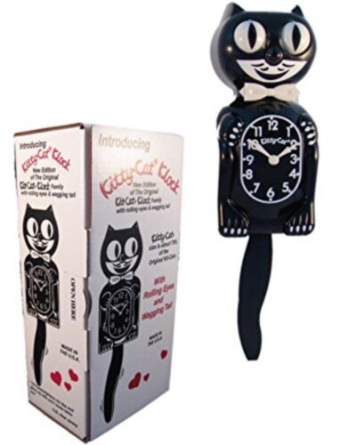 """BLACK KITTY CAT CLOCK (3/4 Size) 12.75"""" Free Battery MADE IN USA Kit Kat NEW"""