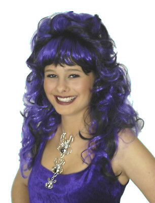 Damen Perücke SAPHIRA schwarz lila zB Kostüm Vamp Hexe Fledermaus Halloween NEU